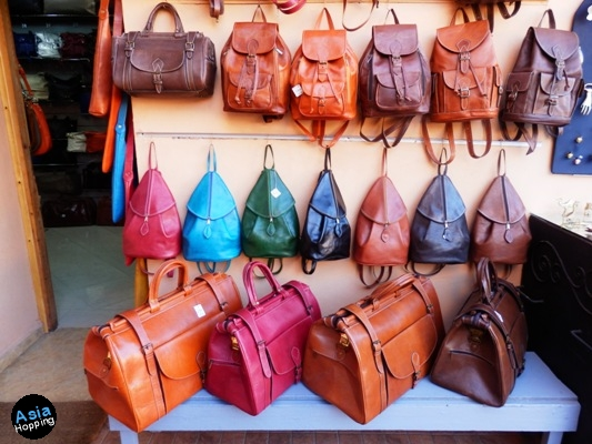 Leather bags in Marrakech